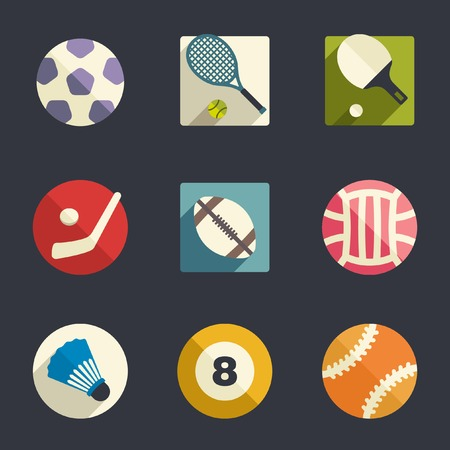 Sport theme flat icon set  Vector