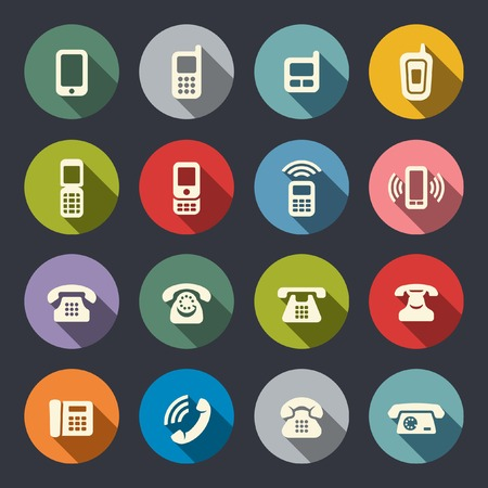 old office: Phone icon set