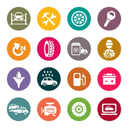 servicing: Auto service and repair vector icon set