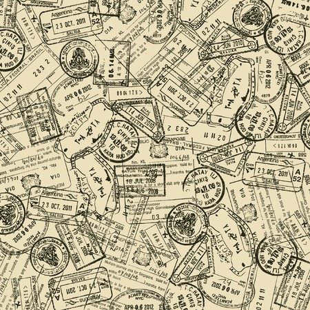 旅行切手と背景  イラスト・ベクター素材