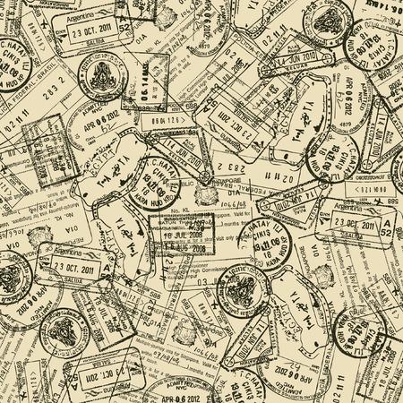 Achtergrond met reiszegels Stock Illustratie