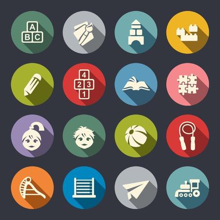 educacion fisica: Iconos de educación preescolar Vectores