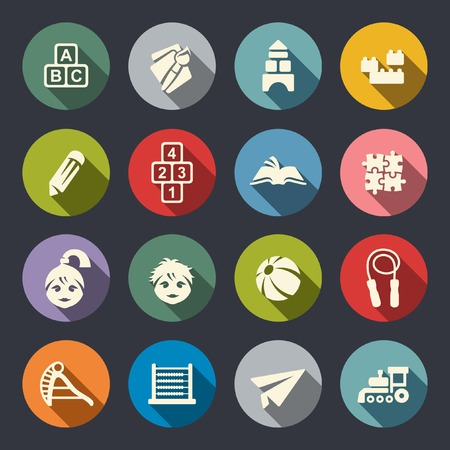 Preschool education Icons 向量圖像