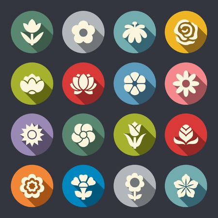 Flower icon set  Illustration