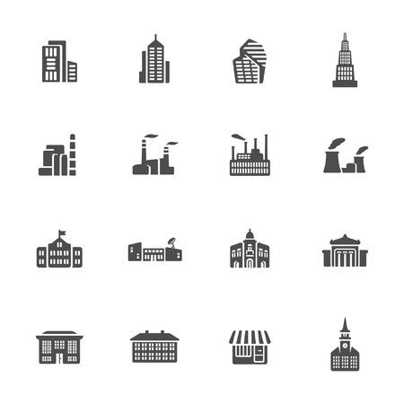 administrative buildings: Buildings icon set