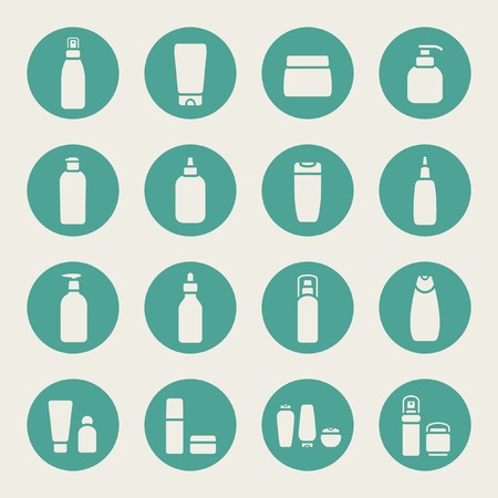 beauty care: Cosmetic bottle icons
