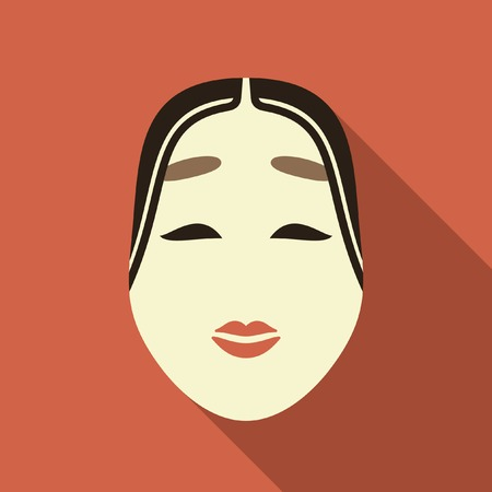 Traditional japanese theater mask icon Vector