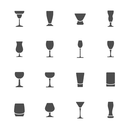 glass wine: Drink glass icons  Illustration