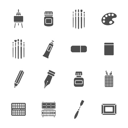 Art materials icons set  Vector