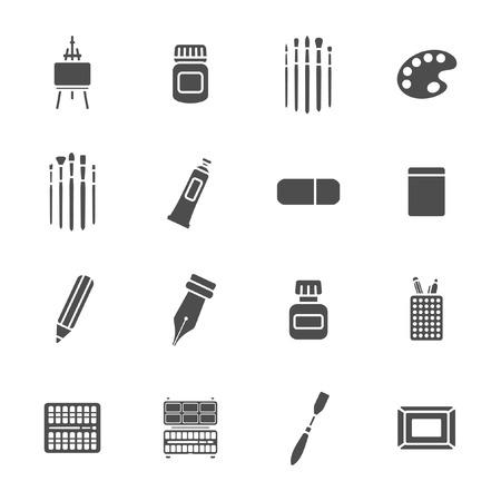 Art materials icons set