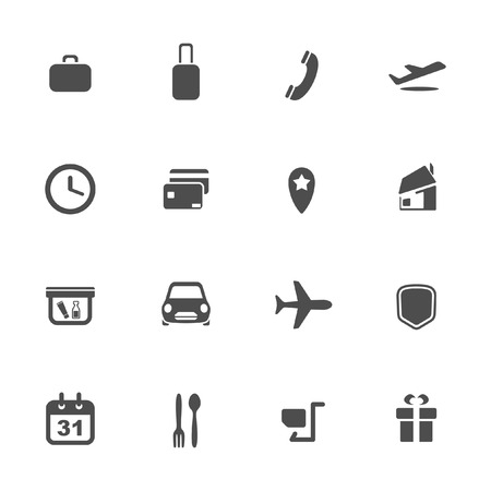 airways: Airport and airlines services icons  Illustration