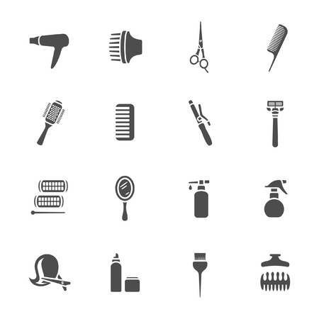 permanent wave: Hairdressing equipment icons