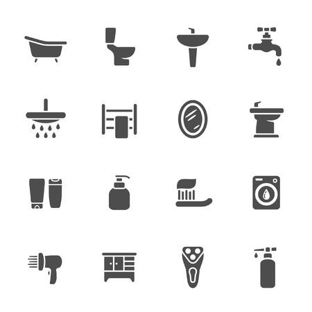 shaver: Bathroom icon set