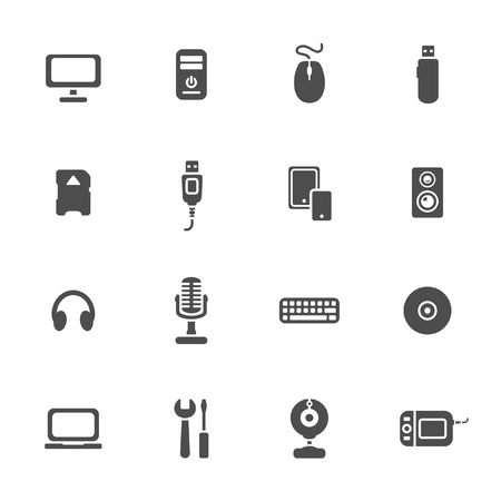 Computer devices theme icons set  Vector