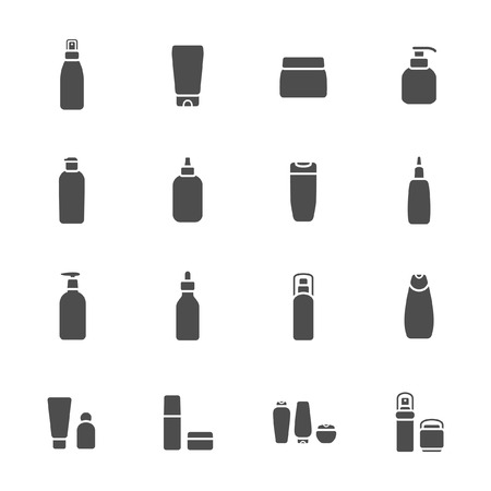 Cosmetic flasks icon set  Vectores