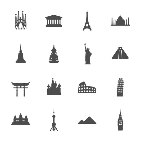 Travel landmarks icon set