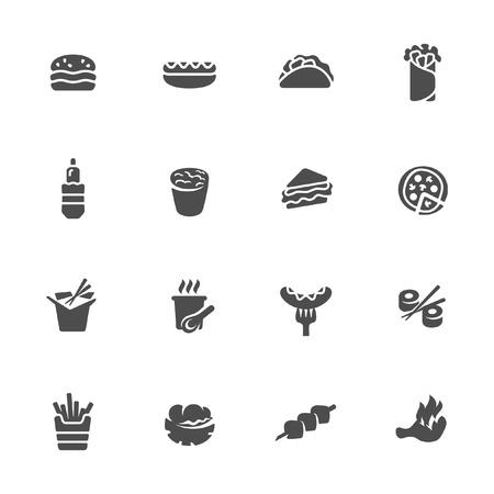take out food: Fast food icon set