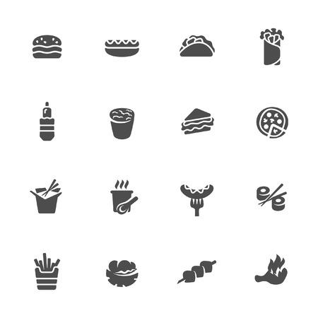 fried noodle: Fast food icon set