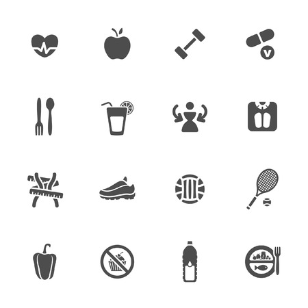 waistline: Diet and fitness theme icons set  Illustration