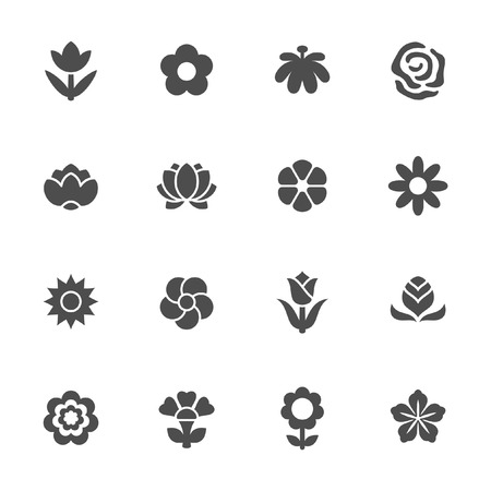 flower icon: Flower icon set  Illustration