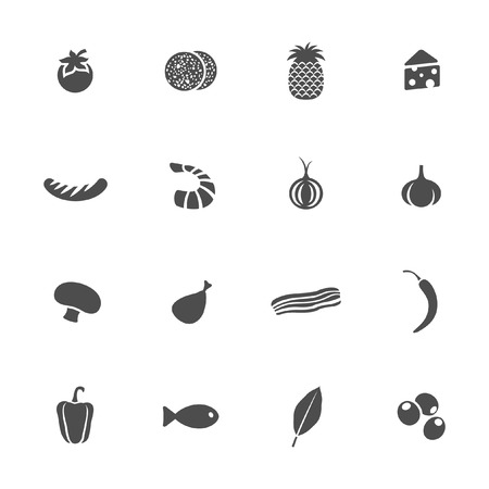 pizza ingredients: Food icons  Illustration