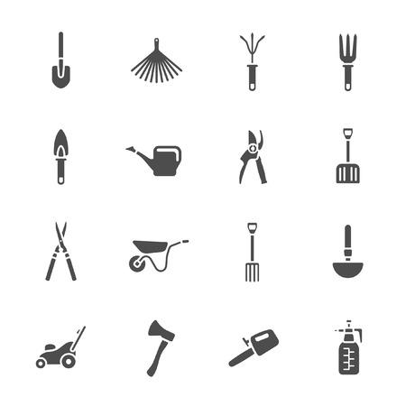 farming tools: Gardening tools icons set