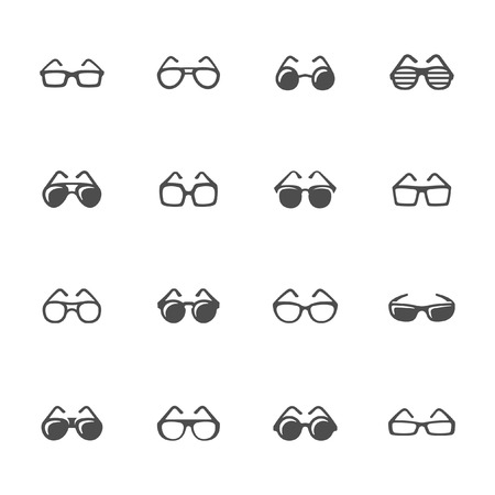 looking through an object: Glasses icon set