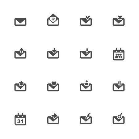 select all: Email icons Illustration