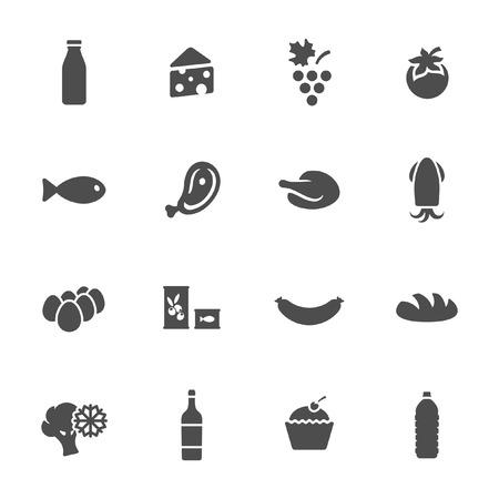 frozen fish: Food icon set  Illustration
