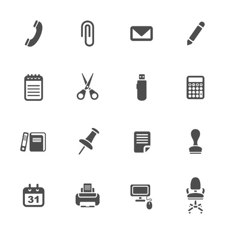office chair: Office supplies icons set