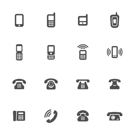 cell phone icon: Telephone icon set Illustration