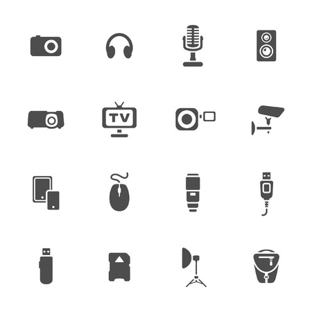 tripod projector: Photo and other technical devices icons set