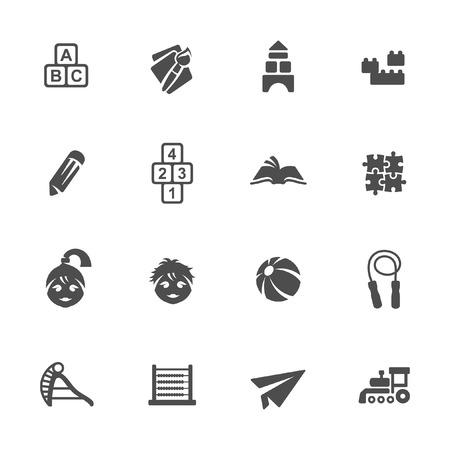 games hand: Childhood icon set