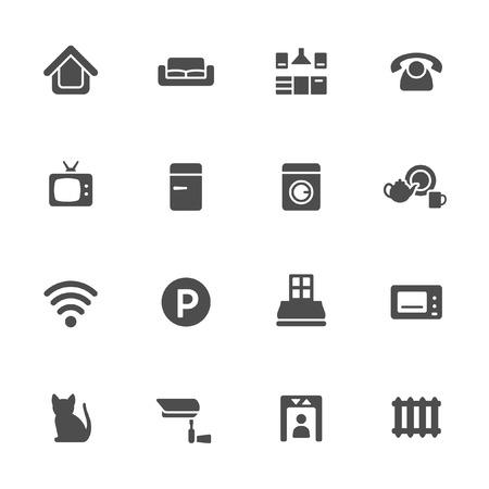 furnishing: Home rental services icon set  Illustration