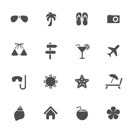sea star: Summer vacation theme icons
