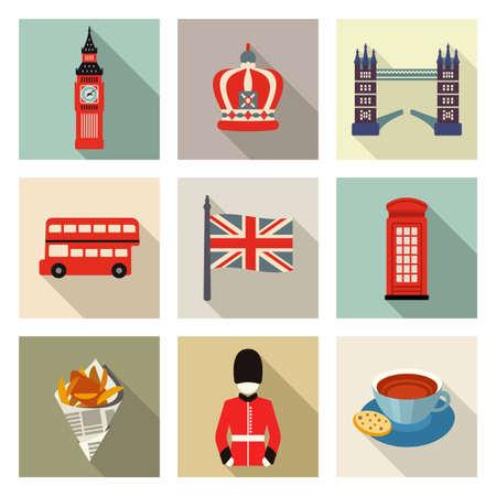 inglese flag: Icone di Londra Vettoriali