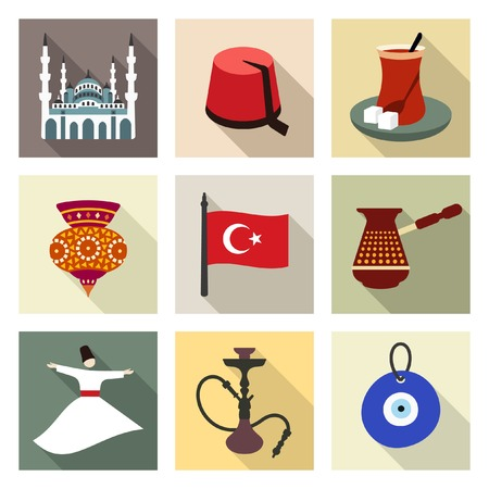 turkish man: Turkey travel symbols icon set Illustration