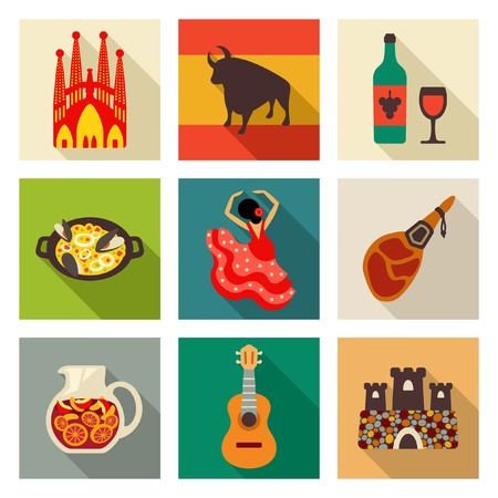 スペインのアイコンを設定  イラスト・ベクター素材