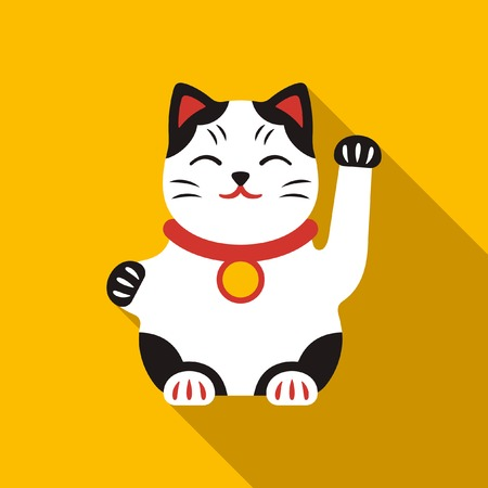 Chinese lucky cat vector icon