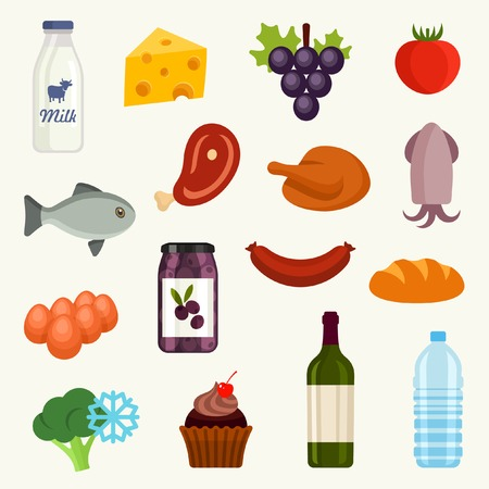 frozen meat: Food icon set Illustration