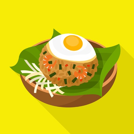 sunny side up eggs: Nasi Goreng icon Indonesian Fried Rice