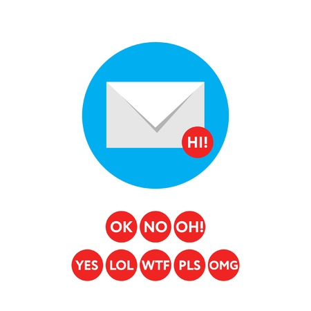 short message service: Email icon concept with acronyms