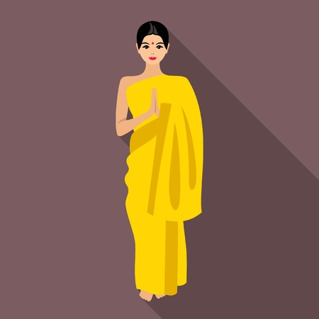 asian and indian ethnicities: Indian woman Illustration