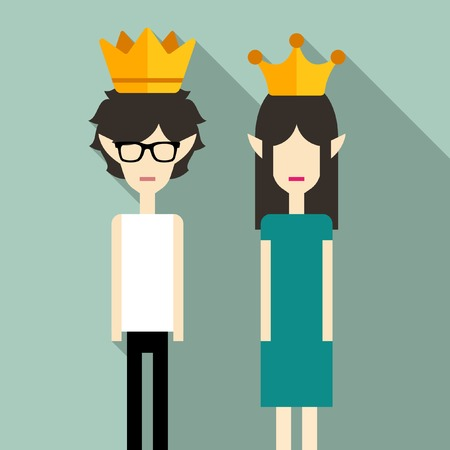 prom dress: Couple wearing crowns Illustration