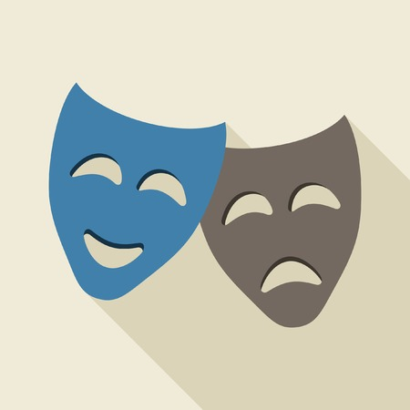 tragedy mask: Comedy and tragedy theatrical masks Illustration