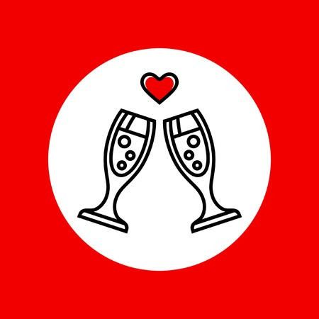 Champagne glasses with heart. Valentines Day engagement marriage anniversary vector icon. Vector
