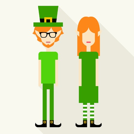 Leprechaun couple. Girl and boy dressed for St. Patricks Day. Vector