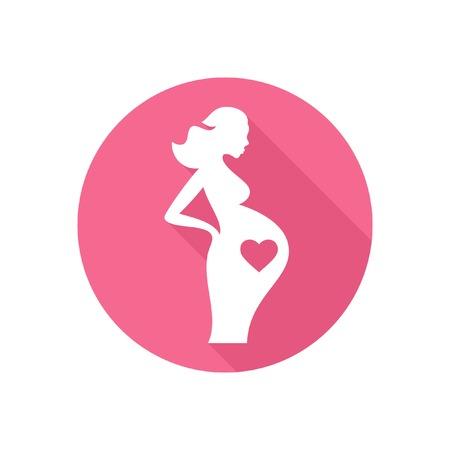 妊娠中の女性のアイコン  イラスト・ベクター素材