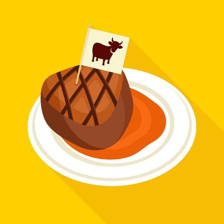 Beef steak vector icon Illustration