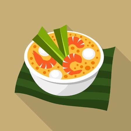 yum: Tom yum thai soup vector icon Illustration